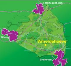 B&B Ameidehoeve is een ideale uitvalsbasis voor een bezoek aan de steden Eindhoven (15 km), Tilburg (20 km) en 's-Hertogenbosch (20km).