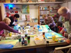 De blauwe appel schilderworkshops Schilderen in een groep